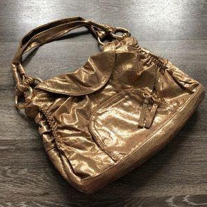 B. Makowsky Metallic Gold Satchel Purse Bag